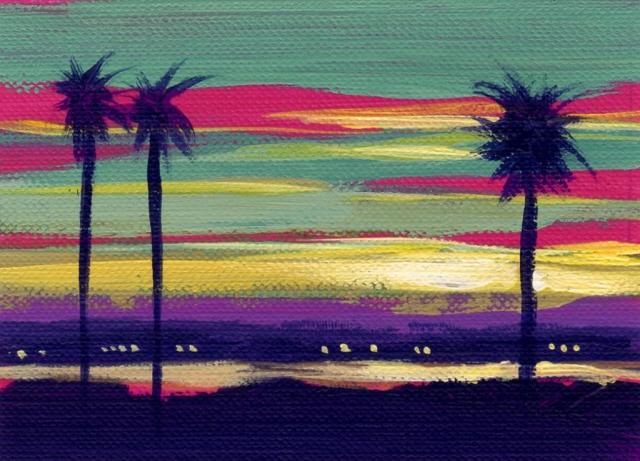 Mai Tai Sunset ACEO