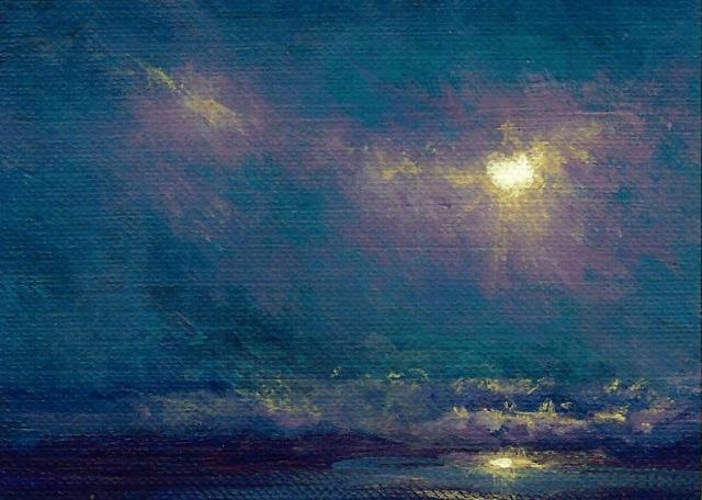 Moonlit Surf ACEO