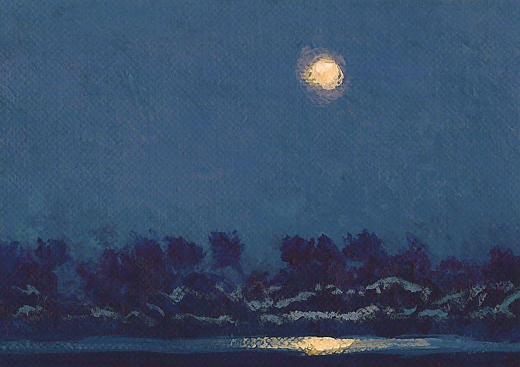 Moonlit River ACEO