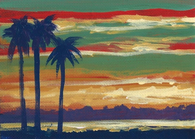 Palms At Sunset No.2 ACEO